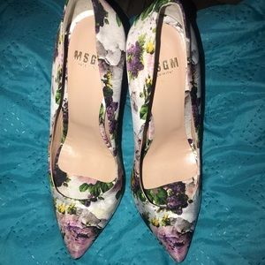 MSGM Floral print heels